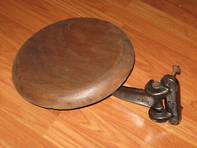 Antique Cast Iron Industrial Mounting Workbench Stool Adjustable with Wood Seat