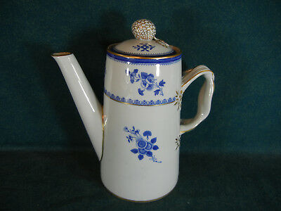 """Spode Gloucester Blue with Gold Trim Y2649 Large 8"""" Coffee Pot with Lid"""