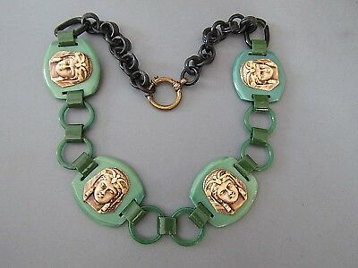 Vintage Art Deco Black And Green Celluloid Eygptian Revival Wide Necklace