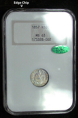 1857 NGC MS63 CAC Toned Liberty Seated Half Dime in an Old Fatty Holder (cro180)