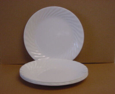 "4 Corelle Enhancements Luncheon Plates 8-1/2"" (White Swirl) Made in USA New"