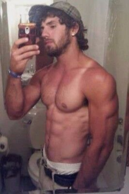 Shirtless Male Beefcake Muscular Beard Tan Lines Physique Hunk PHOTO 4X6 F164