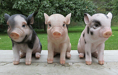 3 Small Pigs 6 in.H X 7.5 in. Sitting Farm Animals Piglets resin Figurines new