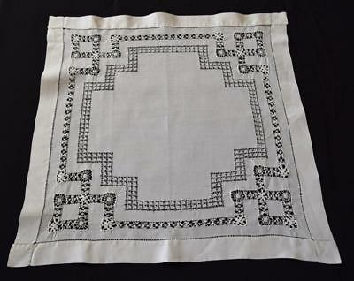 Lovely Vintage Drawn work Embroidered Square Table Cloth Antique Doily Mat TLC