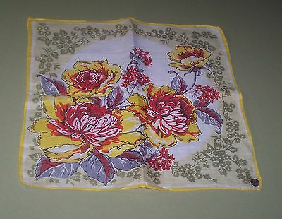 Irish LINEN Floral Print Red Yellow Vintage Handkerchief with tag unused