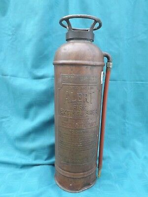 Antique Copper Alert Fire Extinguisher American Lafrance Elmira Ny