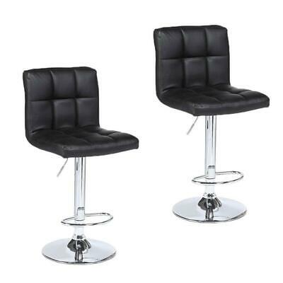 Modern Design Set of 2 Bar Stools Leather Adjustable Swivel Pub Chair Black