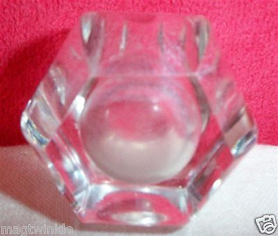 ANTIQUE Crystal Salt Cellar Hexagonal Hand-Cut, 2 inches diameter Bona Fide #869