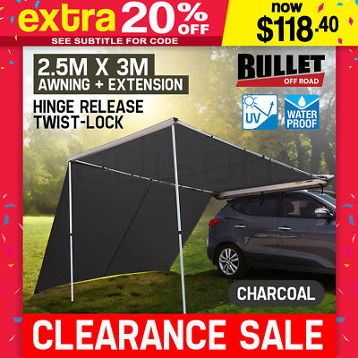BULLET 4WD Roof Rack Awning & Extension 2.5mx3m Pull-Out Car Tent 4X4 Side Shade