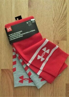 NWT UNDER ARMOUR Women's Sport Leg Warmers Red/Grey 2-Pack ONE SIZE FAST SHIP