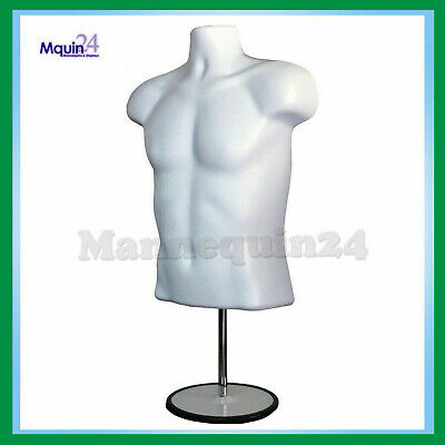 Male Mannequin Hanger Torso Form + Stand Display Apparel Men T-Shirt - WHITE