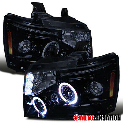 07-13 Avalanche Tahoe Suburban Glossy Black LED DRL Halo Projector Headlights