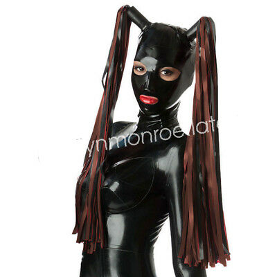 Latex Fashion Party Hood Headgear Rubber Black and Coffee Mask Size XXS-XXL