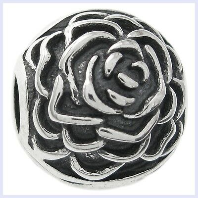Sterling Silver Round Rose Stopper Clip Lock Bead for European Charm Bracelet