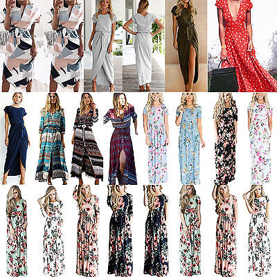 Women's Boho Floral Long Maxi Cocktail Dress Summer Party Evening Beach Sundress
