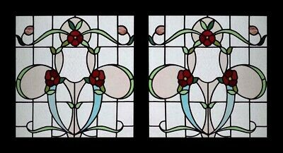 Stunning Art Nouveau Floral Antique Stained Glass Window