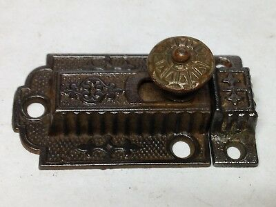 Antique Vintage Bronze Cast Iron Victorian Cabinet Door Latch Lock Part