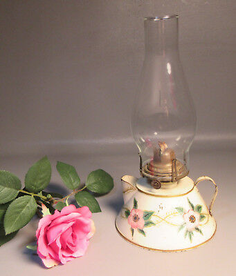 Vintage Toleware Tin Oil Lamp w/Pitcher Shape Glass Chimney Hand Painted Signed