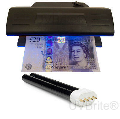 9W UV Counterfeit Money Checker Polymer & Paper Bank Note Detector + Spare Bulb