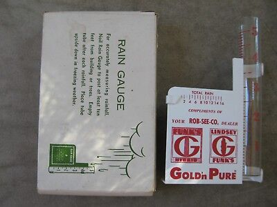 Funks G Hybrid ROB-SEE-CO. Gold'n Pure Seed Corn Rain gauge Sign
