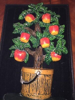APPLES Vintage Cast Iron BASKET RED FRUIT TREE Doorstop Door Stop HEAVY LARGE