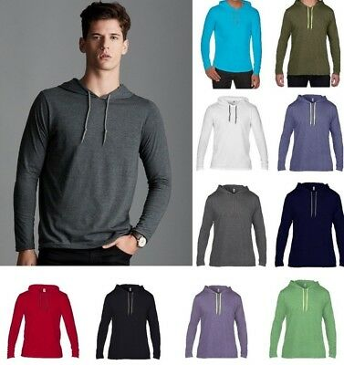 61ce84ae3 ANVIL Lightweight Long Sleeve Men's HOODED T-SHIRT 100% Cotton in Colour  Choices