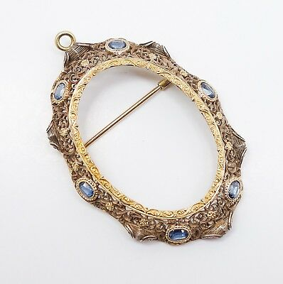Early 20c Renaissance Style 18k Gold Silver Filigree Sapphire Brooch Setting
