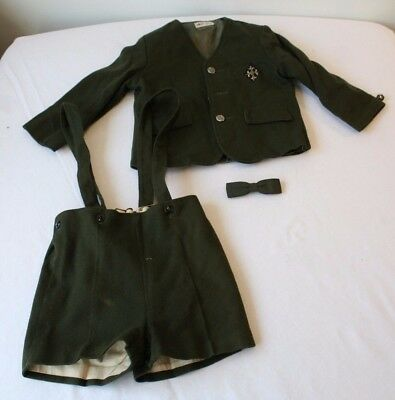 Vintage Wool Childs Outfit Jack and Jill Togs Olive Green Bavarian Fashion Style