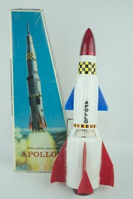 Vintage 1970s Battery Operated Space Rocket Apollo-X w/ Box Hong Kong Working!