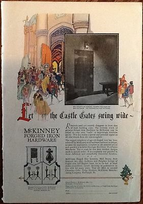 McKinney forge iron color ad 1927 original vintage 1920s art illus decor knights