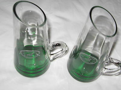 Set of 2 TULLAMORE DEW Irish Whiskey Slant Top Glasses EC