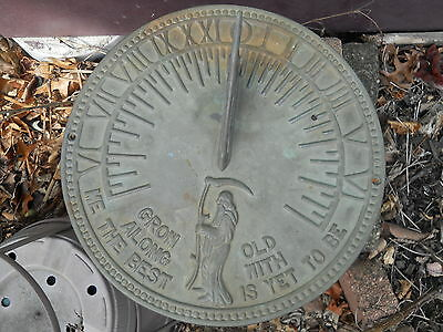 "Vintage Sun Dial- Grim Reaper-Bronze or Brass-""Grow Old Along With Me"" Excellent"