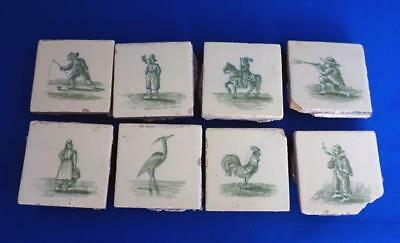 Eight Antique Dutch Ceramic Small Wall Tiles Cream and Green