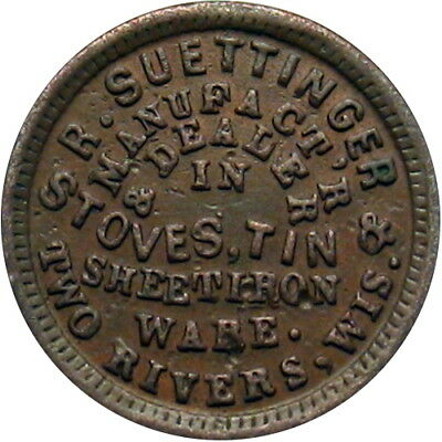 1863 Two Rivers Wisconsin Civil War Token R Suettinger Single Variety Town