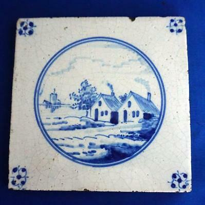 Antique Dutch Delft Blue and White Hand Painted Ceramic Wall Tile