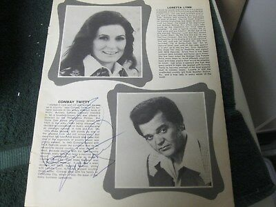 Conway Twitty And Jeanne Pruett Autographed Magazine Page