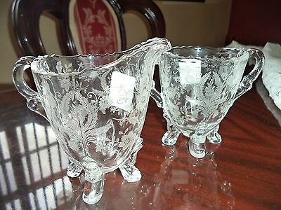 Prelude Etched (New Martinsville) 3 Piece Set: Sugar Bowl,creamer & Tray...nice!