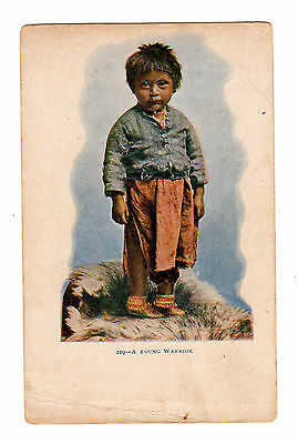 Old Postcard A Young Warrior Indian Boy Child Embossed Undivided Back