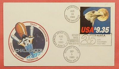 #1909 Eagle $9.35 On 1983 Space Shuttle Challenger Flown Flight Cover Sts-8