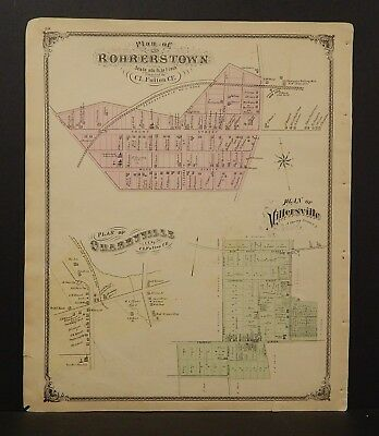 Pennsylvania Lancaster County Map Rohrerstown Quarryville 1875 Dbl Sided  Y15#12