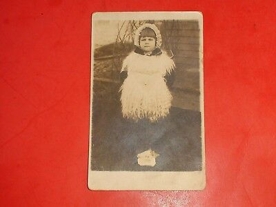 AC940 Vintage RPPC Young Girl in Fur and Bonett Large Sea Shell Real Photo