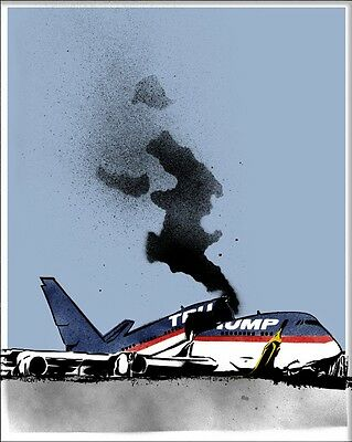 Travel Ban Abcnt silkscreen spray street art print  anti Donald Trump plane S/N