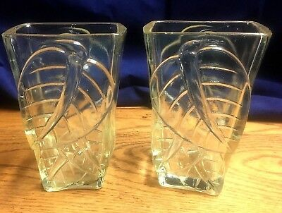 Pair of 2 1800s Antique Clear Pressed Glass Square CELERY Vase Leafs Heavy 6""