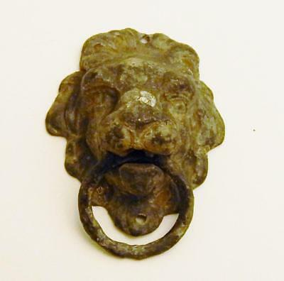 Antique Figural Cast Spelter Lion Head Drawer Cabinet Door Pull Architectural