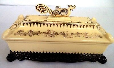 Fabulous Vintage Estate Rooster Dragon Asian Celluloid Trinket Jewelry Box! B110