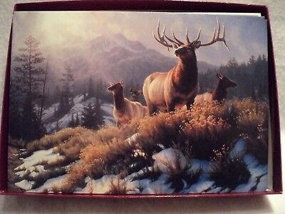 "Leanin Tree ""ELK HERD ON HILL TOP"" ~ BOXED CHRISTMAS CARDS ~ Box of 10 Cards"