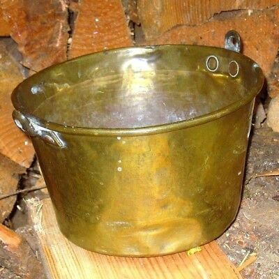 Antique OLD Vintag 1800's Fireplace Solid Brass Jam Pot Kettle Made in USA