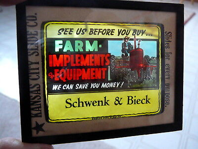 International Tractor Farm Implements 1950 Advertising Glass Theater Slide