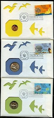 Bvi Set Of 5 Coins On 5 Certified Canceled First Day Of Issue Covers 30 June  73