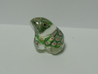 Small Glass Frog Paper Weight Clear with Green and Pink Inside